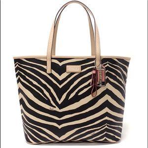 Coach zebra metro tote brown tan rare bag